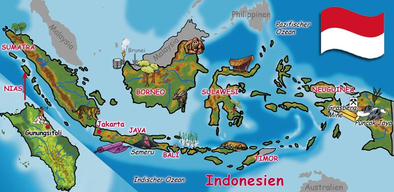 Indonesien-Landkarte. (Quelle: Angela Richter)