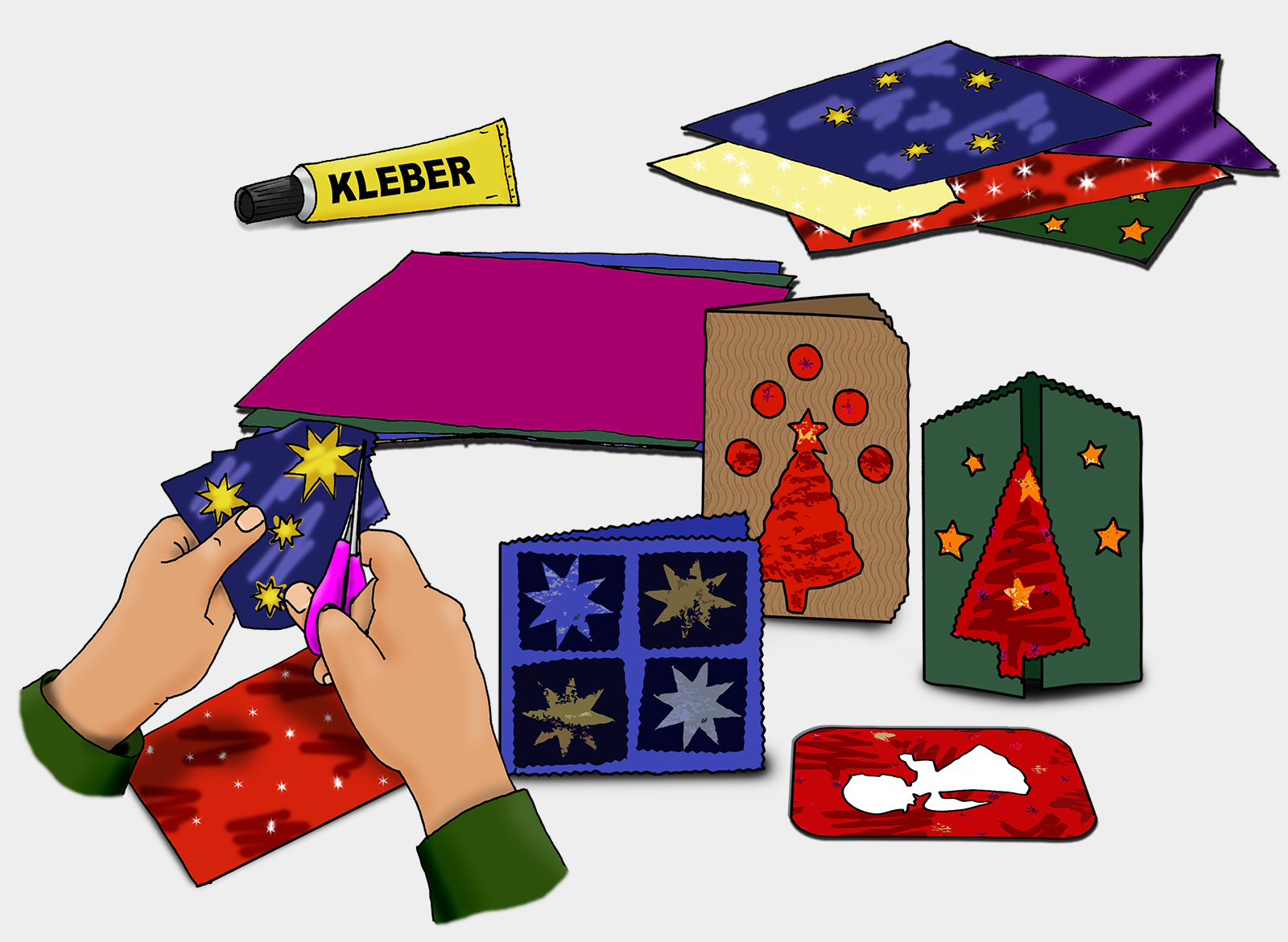 Geschenkpapier, Tonpapier und fertige Weihnachtskarten. (Quelle: Angela Richter)