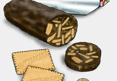 Eine Gebäckrolle aus Schokolade und Keksen. (Quelle: Angela Richter)