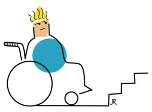 Zeichnung von einem Kind im Rollstuhl vor Treppenstufen. (Quelle: Jan Robert Dünnweller)