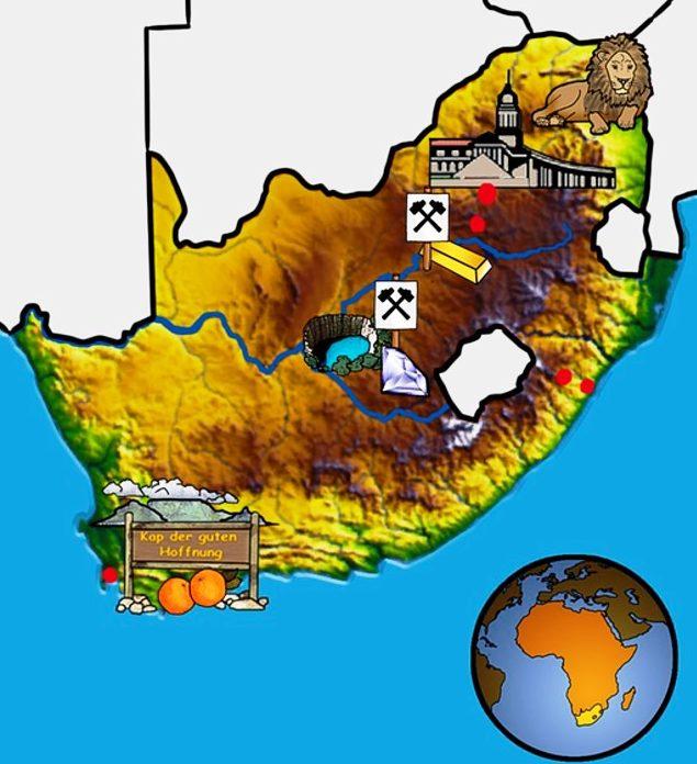 Gemalte Landkarte von Südafrika. (Quelle: Angela Richter)