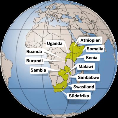 Länder in denen die Kindernothilfe aktiv ist.