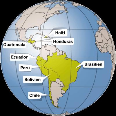In diesen Ländern Lateinamerikas ist die Kindernothilfe aktiv.