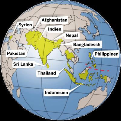 In diesen Ländern Asiens ist die Kindernothilfe aktiv.
