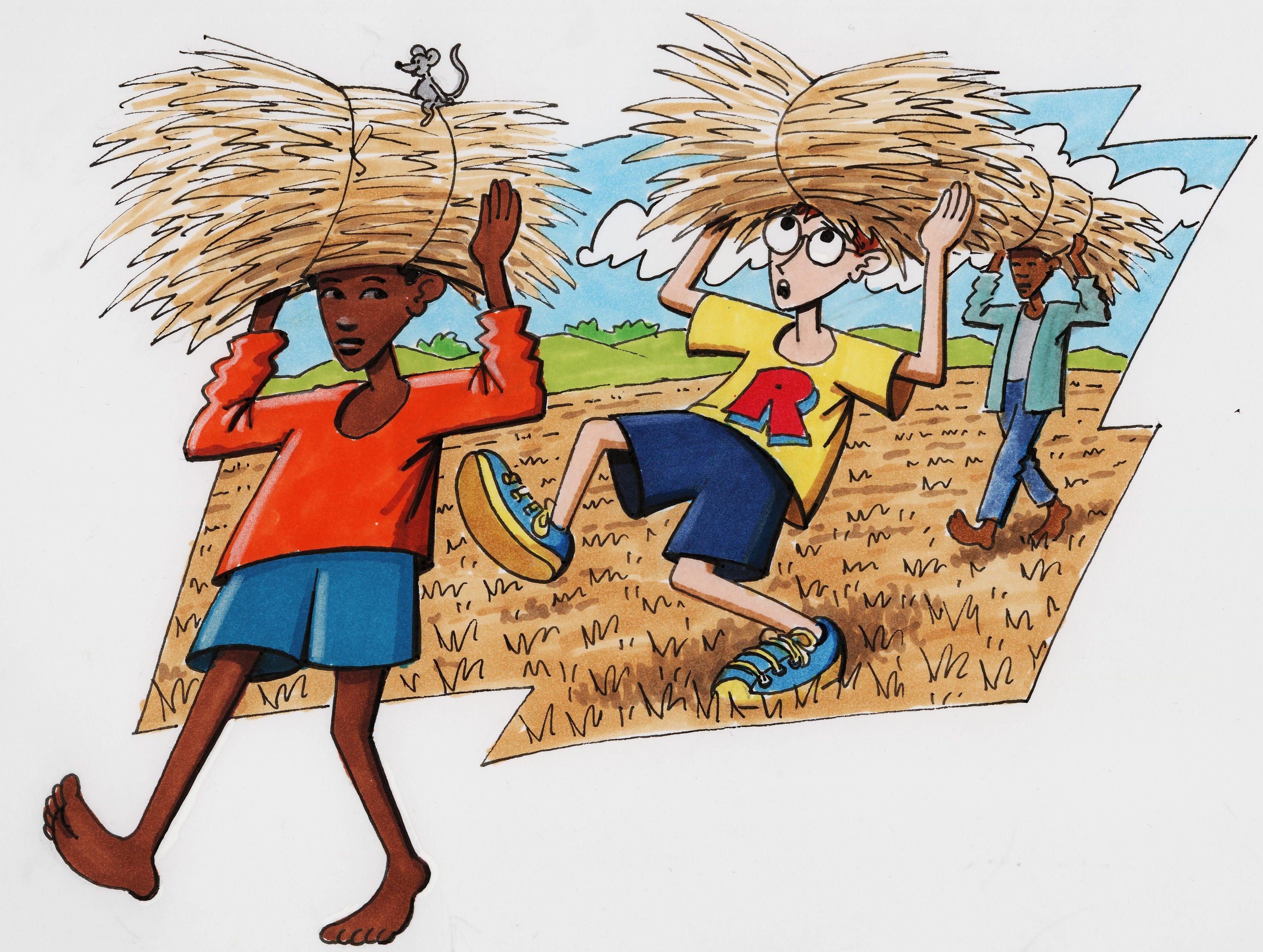 Robinson, ein äthiopischer Junge und ein Bauer tragen Getreideballen auf dem Kopf. (Quelle: Peter Laux)