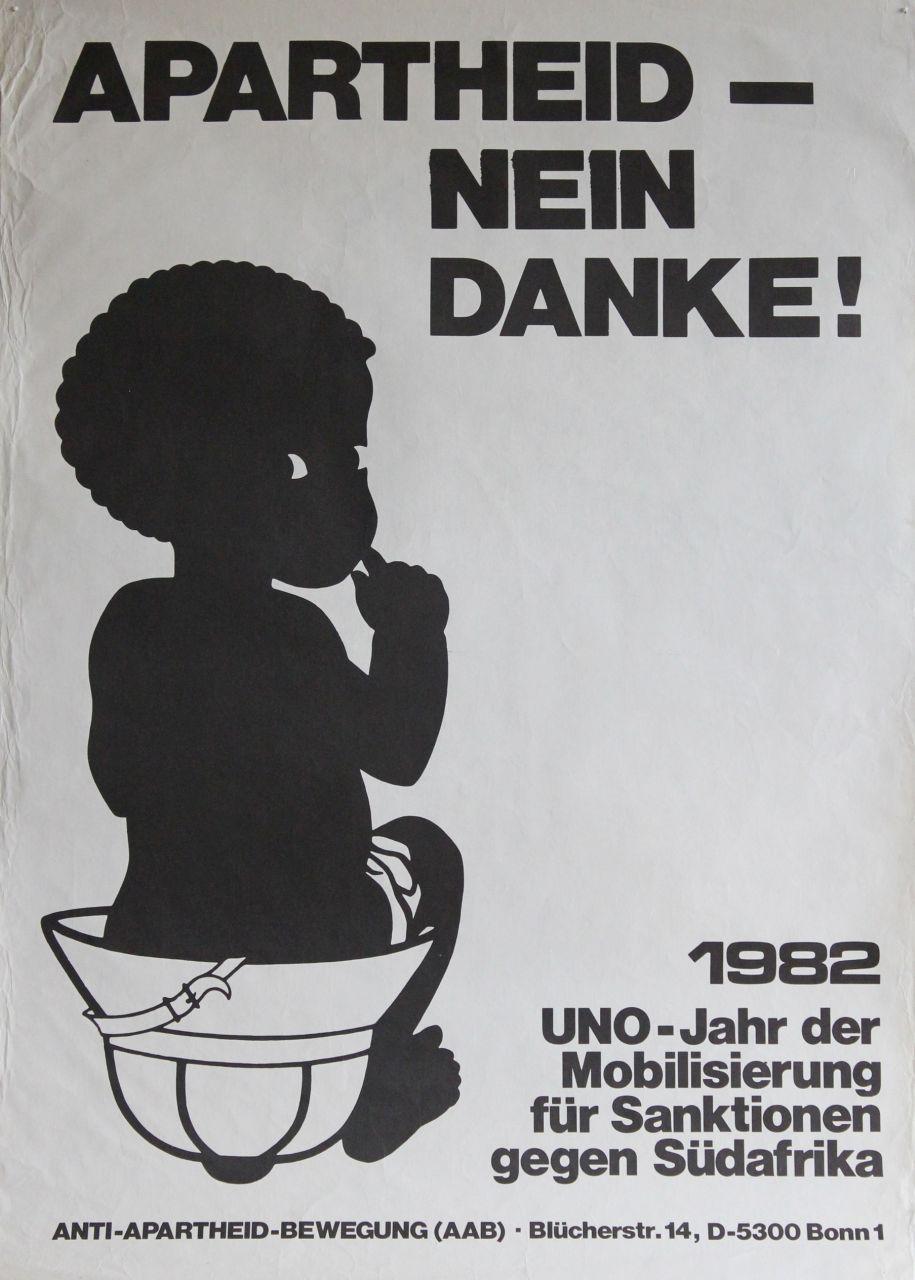 Plakat der Anti-Apartheid-Bewegung in Deutschland. (Quelle: Archiv für alternatives Schrifttum)