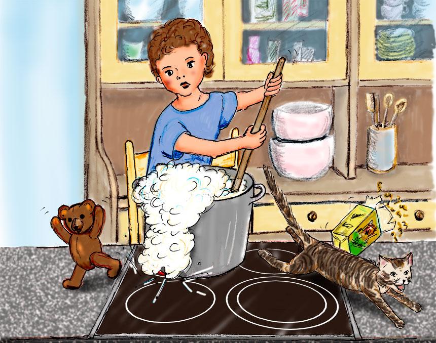 Comic-Zeichnung: ein Kind kocht (Quelle: Angela Richter)