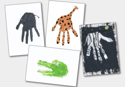 Tiere aus Handabdrücken gemalt (Quelle: Angela Richter)