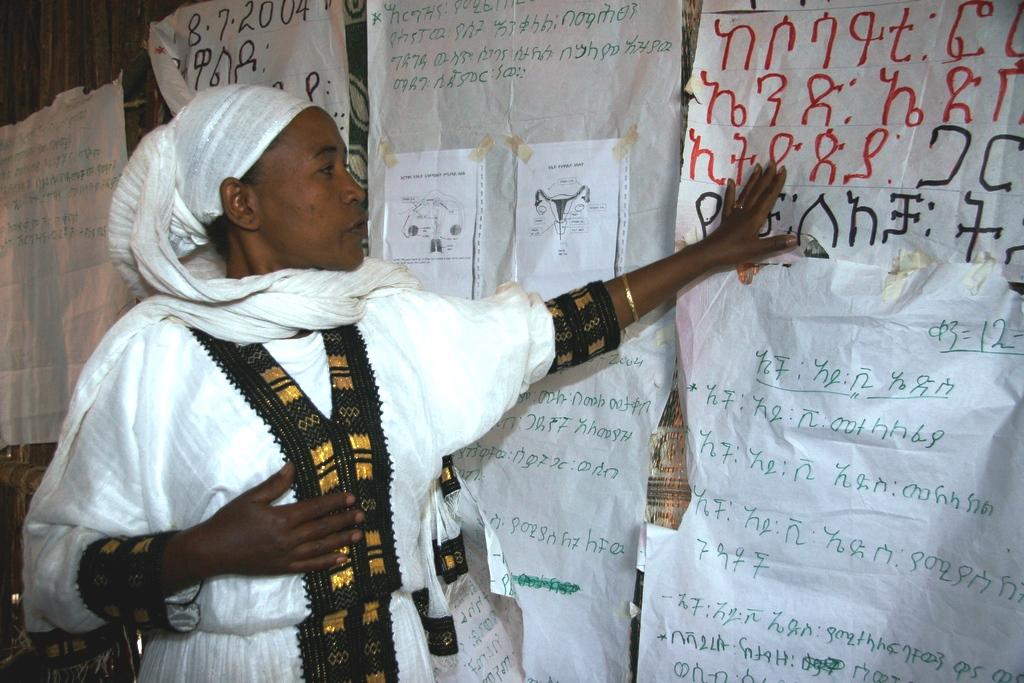Eine Frau zeigt auf Plakate mit äthiopischen Schriftzeichen. (Quelle: Christian Herrmanny)