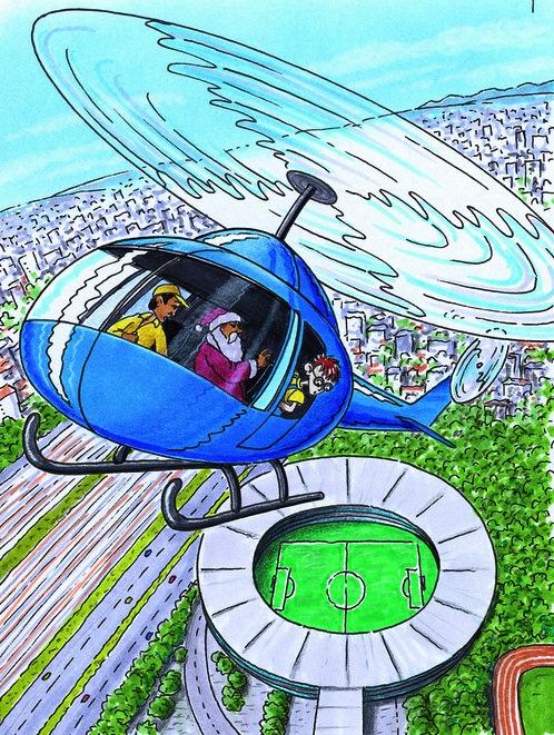 Robinson und der Weihnachtsmann kreisen im Hubschrauber über einem Stadion. (Quelle: Peter Laux)